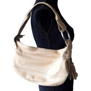 Kenneth Cole Beige Tan Leather Oyster Bag Purse